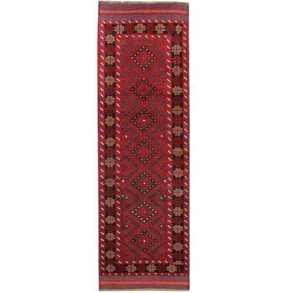 Luxurious 2x8 Authentic Hand-Knotted Tribal Baluch Mashwani Runner - Pakistan