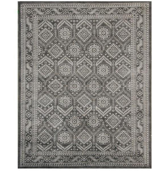10x14 Authentic Hand Knotted Transitional Modern Rug - India