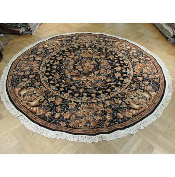 8x8 Authentic Handmade Aubusson Round Rug -China