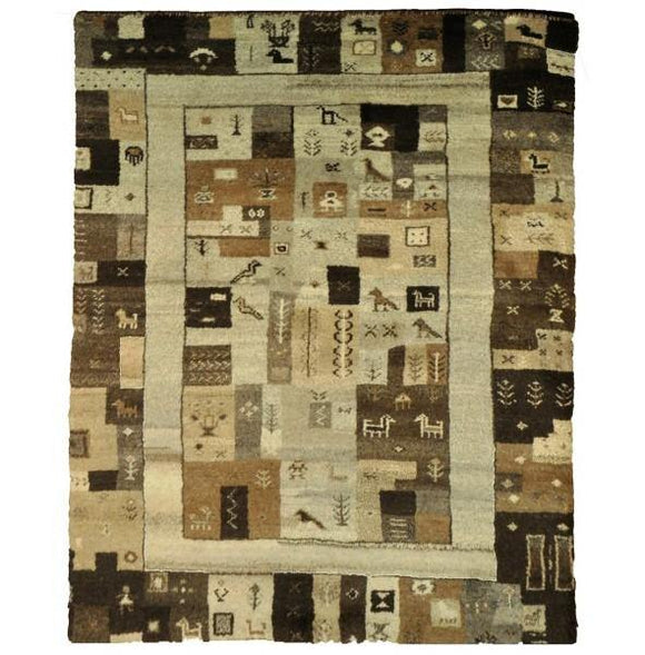 4x6 Authentic Hand-knotted 1 inch Thick Modern Gabbeh - Rug