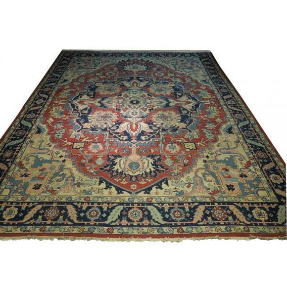 Dazzling 12x14 Authentic Hand-Knotted Heriz Sumak Flat Weave Rug - India