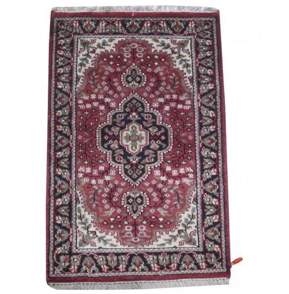 2x3 Authentic Hand Knotted Jammu Kashmir Silk Rug - India