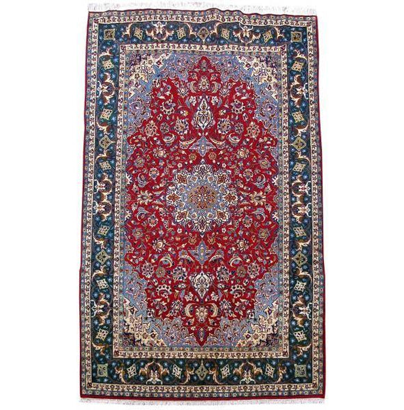 8x14 Authentic Hand Knotted Persian Isfahan Rug - Iran