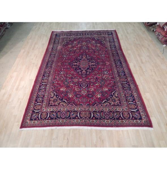 7x10 Authentic Hand Knotted Semi-Antique Persian Mashad Rug - Iran