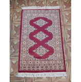 Red 2x3 Authentic Hand Knotted Jaldar Bokhara Rug - Pakistan
