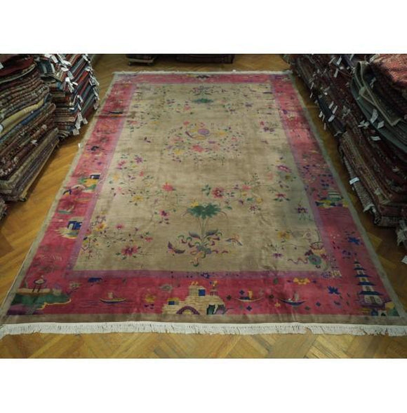 12x18 Authentic Hand Knotted Antique Art Deco Rug - China