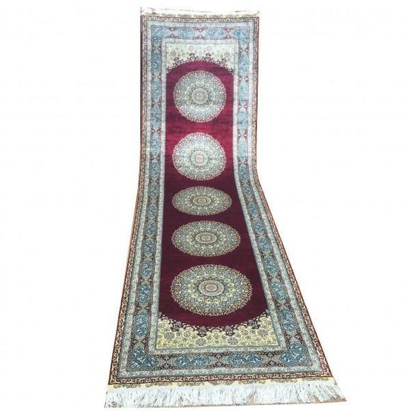 3x12 Authentic Hand-Knotted High End Silk Runner Rug - China