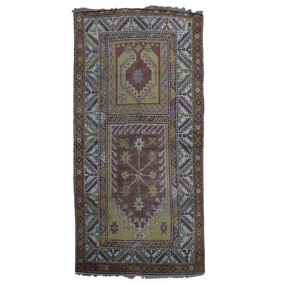3x6 Authentic Hand Knotted Antique Russian Kazak Rug - Russia