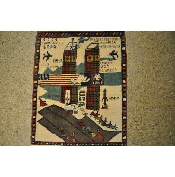 2x3 Authentic Hand-Knotted Afghan War Wall Hanging Rug - Afghanistan