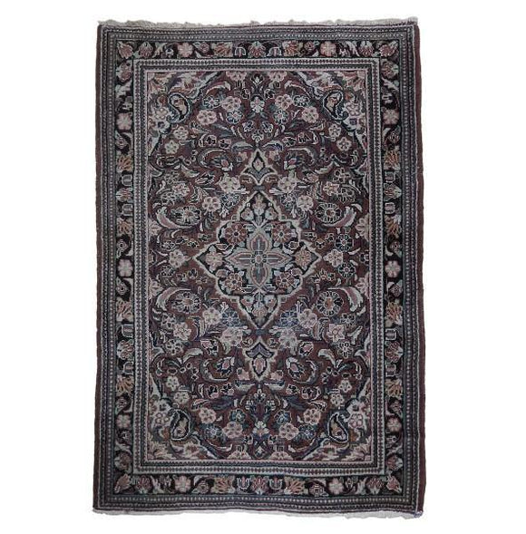 4x7 Authentic Hand Knotted Antique Persian Sarouk Rug - Iran