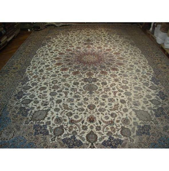 16x27 Authentic Handmade Fine Persian Esfahan Rug-Iran