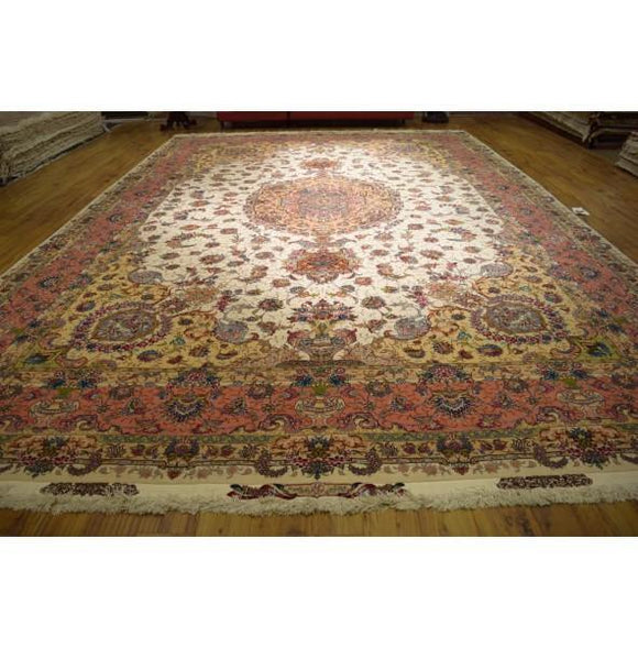 13x20 Authentic Hand Knotted Wool & Silk High End Persian Tabriz Rug - Iran