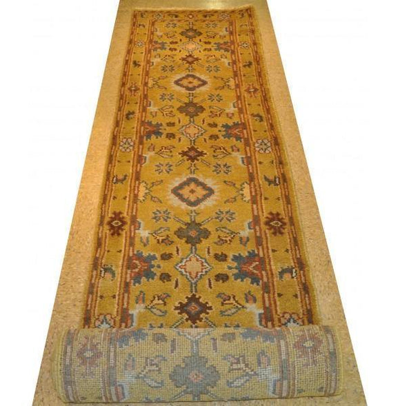 Dazzling 3x20 Authentic Hand-Knotted Mahal Runner Rug - India