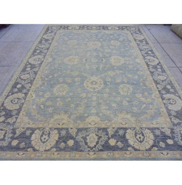 Radiant 12x9 Authentic Hand Knotted Vegetable Dyed Ziglar Chobi Peshawar Rug - Pakistan