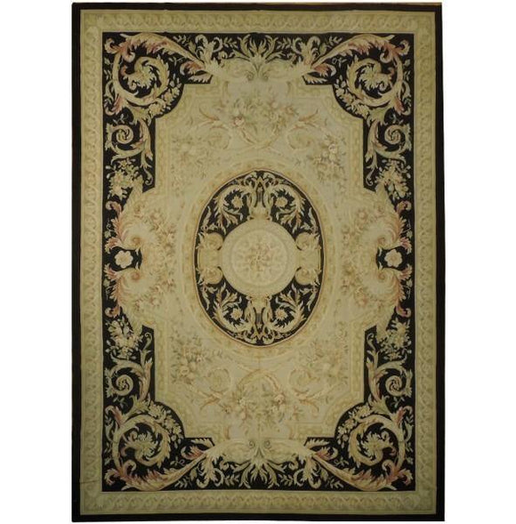 10x14 Authentic Handmade French Flat Weave Aubusson Rug - China