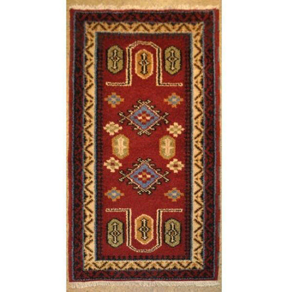 2x4 Authentic Hand-Knotted Kazak Rug - India