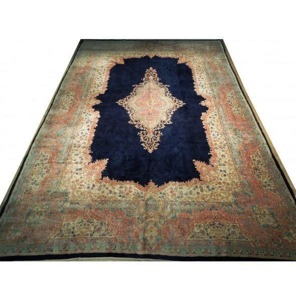 11x17 Authentic Hand-Knotted Semi-Antique Persian Kerman Rug - Iran