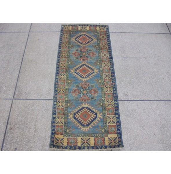 Radiant 5x2 Authentic Hand Knotted Kazak Rug - Pakistan