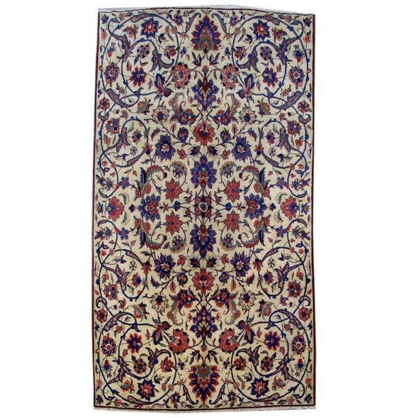 7x13 Authentic Hand Knotted Persian Mashad Rug - Iran