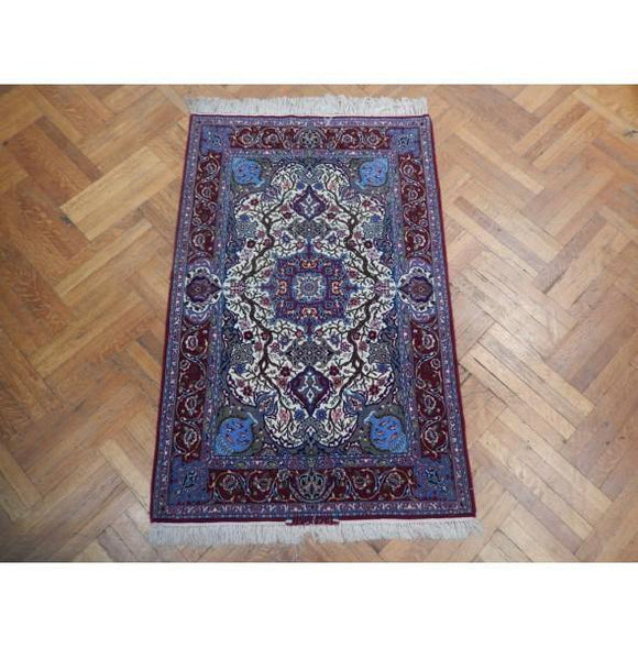 4x6 Authentic Handmade Signed Wool & Silk Persian Isfahan Rug - Iran