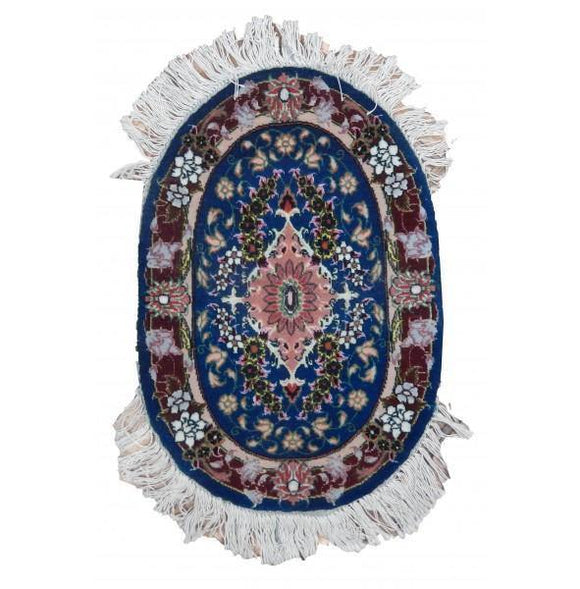 1x2 Authentic Handmade Persian Wool & Silk Oval Rug - Iran