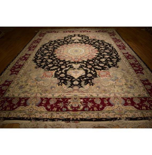 10x13 Authentic Hand Knotted Wool & Silk Sino Tabriz Rug - China
