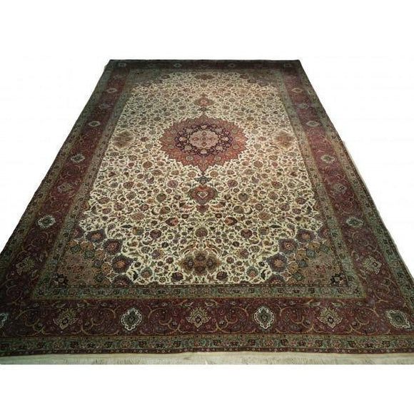 13x20 Authentic Hand-Knotted Fine Quality Persian Tabriz Rug - Iran
