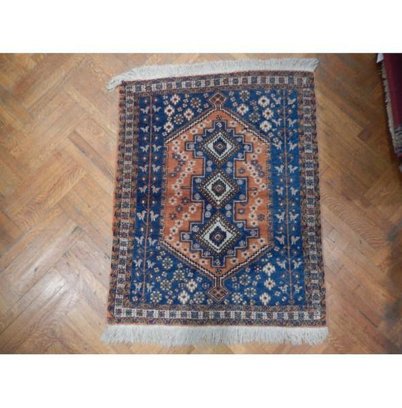 4x4 Authentic Hand Knotted Persian Kazak Rug - Iran