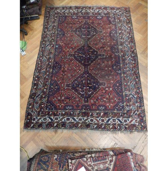 7x10 Authentic Hand Knotted Antique Persian Shiraz Rug - Iran