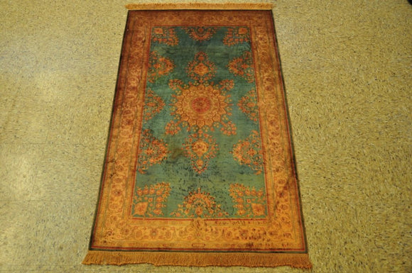 Harooni Originals - 3x5 Authentic Hand-Knotted Silk Rug - China