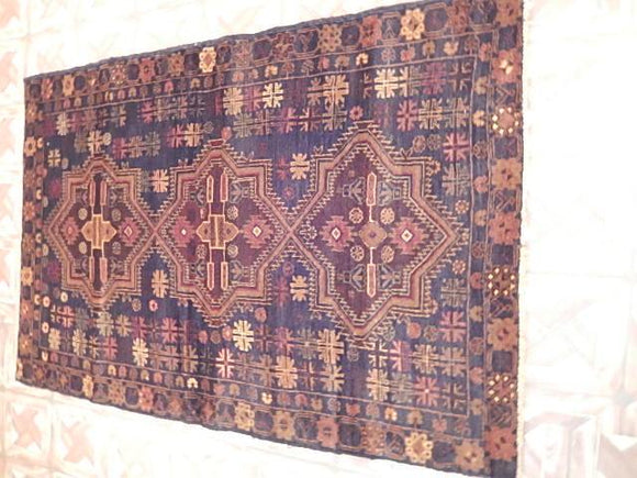 Luxurious 4x5 Authentic Hand Knotted Baluchi Rug - Pakistan