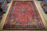 9x13 Authentic Hand Knotted Signed Persian Mashad Rug - Iran