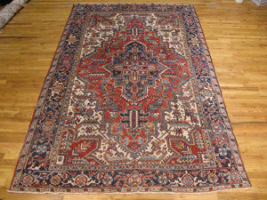 Harooni Rugs - Authentic Hand-Knotted 6x10 Antique EB Heriz Rug - Traditional