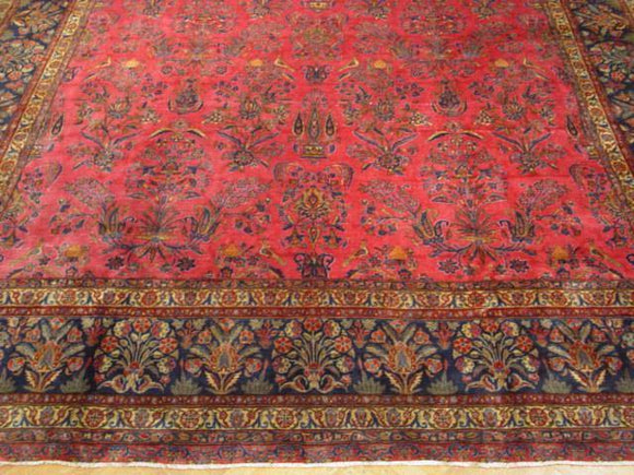 Dazzling 13x21 Authentic Hand Knotted Persian Sarouk 1950s Wool Rug - Iran
