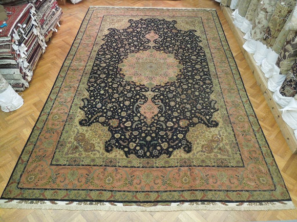 Authentic Handmade 13x20 Super Fine Silk&Wool Signed Persian Rug - Traditional