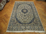 Harooni Rugs - Vintage 6x10 Authentic Hand Knotted Semi-Antique Persian Nain Rug - Iran