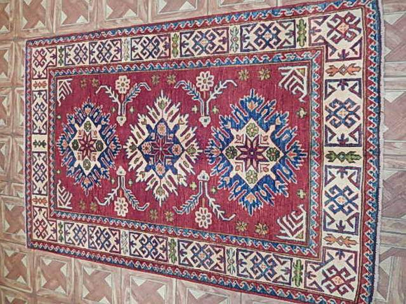 Harooni Originals - 3x5 Authentic Hand Knotted Kazak Rug - Pakistan