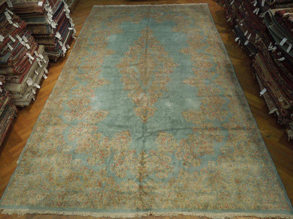 Harooni Rugs - Vintage 11x19 Authentic Hand Knotted Semi-Antique Persian Kerman Rug - Iran