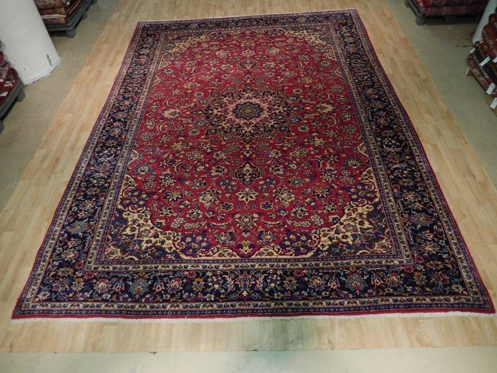 9x13 Authentic Hand Knotted Semi-Antique Persian Isfahan Rug - Iran - bestrugplace