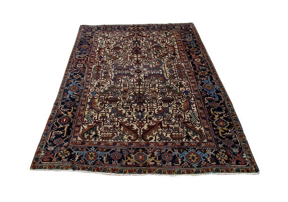 Authentic Hand-Knotted 7x9 Persian Heriz Rug - Traditional