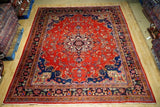 10x13 Authentic Hand Knotted Worn Repair Antique Persian Sarouk Rug - Iran