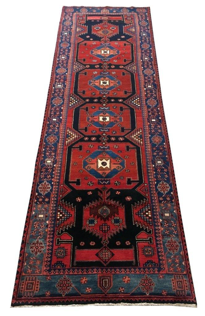 4x13 Authentic Hand-knotted Persian Hamadan Rug - Iran - bestrugplace