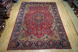 Harooni Rugs - Vintage 8x12 Authentic Hand Knotted Worn Antique Signed Persian Kerman Rug - Iran