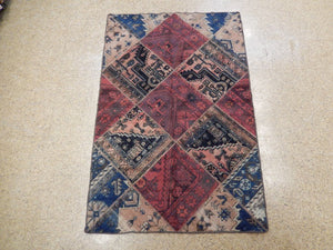 4x6 Authentic Handmade Antique Persian Patchwork Rug - Iran