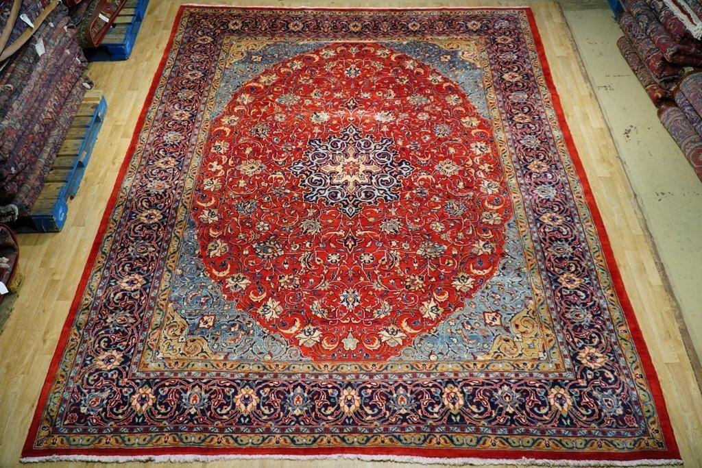 10x13 Authentic Hand Knotted Oval Pattern Persian Sarouk Rug - Iran - bestrugplace