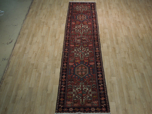 3 x 11 Authentic Hand-Knotted Semi-Antique Traditional Karaja Runner - Traditional