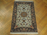 3x4 Authentic Hand-Knotted Wool & Silk High End Persian Isfahan Rug - Iran