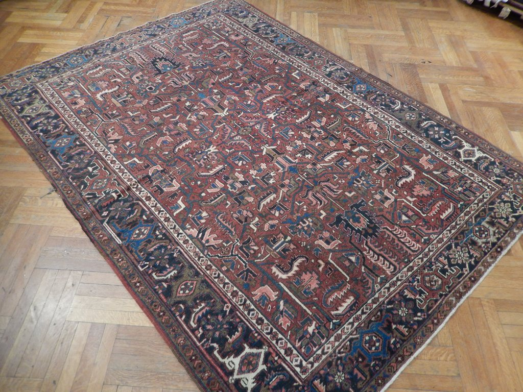 7x10  Antique Persian ALL OVER Design Heriz Rug - Iran 22358