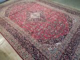 10x14 Authentic Handmade Semi-Antique Persian Kashan Rug - Iran