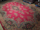 Harooni Rugs - Vintage 11x17 Authentic Hand Knotted Worn Semi-Antique Persian Kerman Rug - Iran